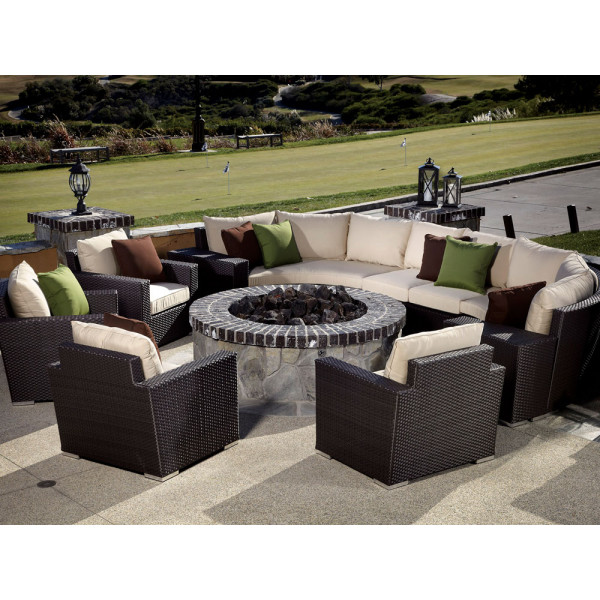 Sunset West Solana 10 Piece Curved Wicker Sectional Set