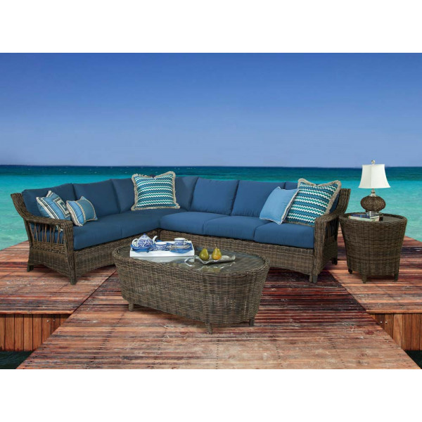 South Sea Rattan Saint John 5 Piece Wicker Sectional Set