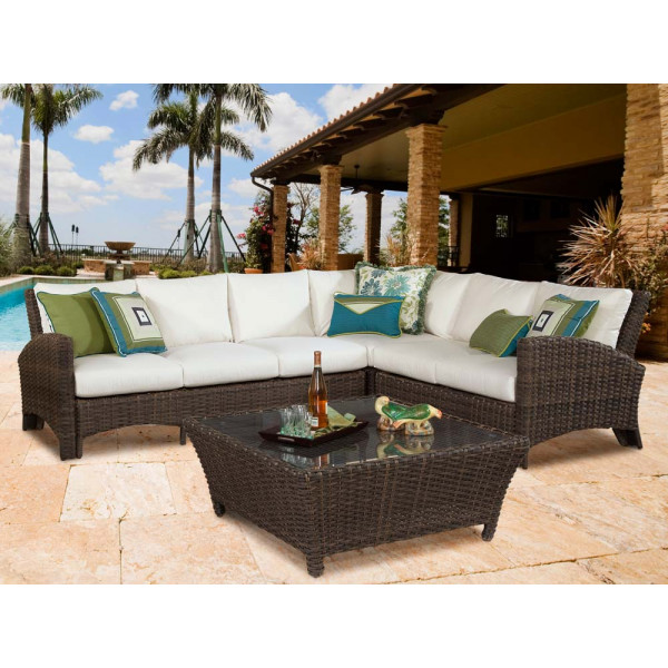 South Sea Rattan Panama Sectional Set