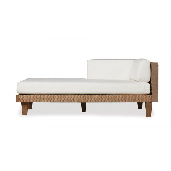 Lloyd flanders catalina left arm facing wicker chaise for Armed chaise lounge