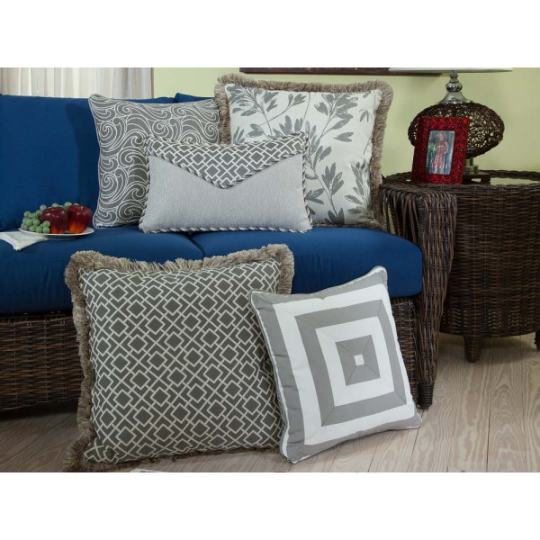 South Sea Rattan All Weather Platinum 5 Piece Throw Pillow Set