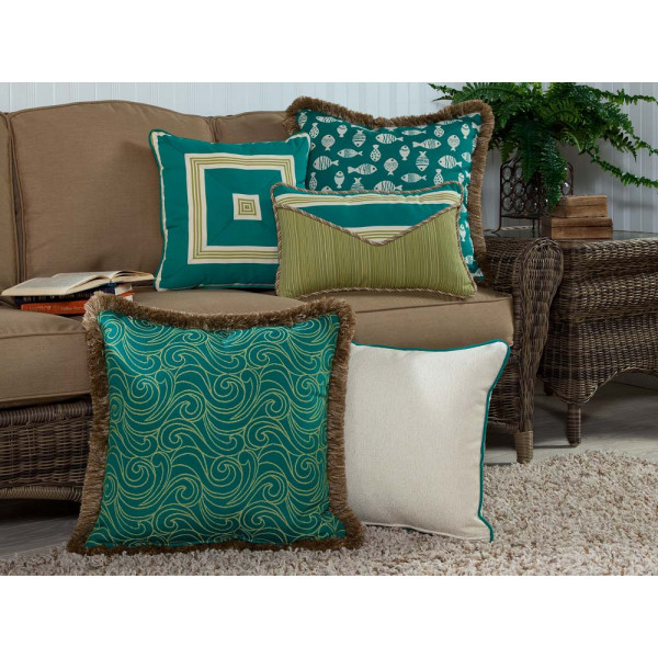South Sea Rattan All Weather Aquamarine 5 Piece Throw Pillow Set
