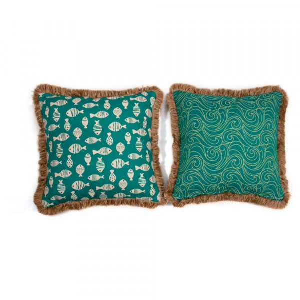 South Sea Rattan All Weather Aquamarine Large Throw Pillow