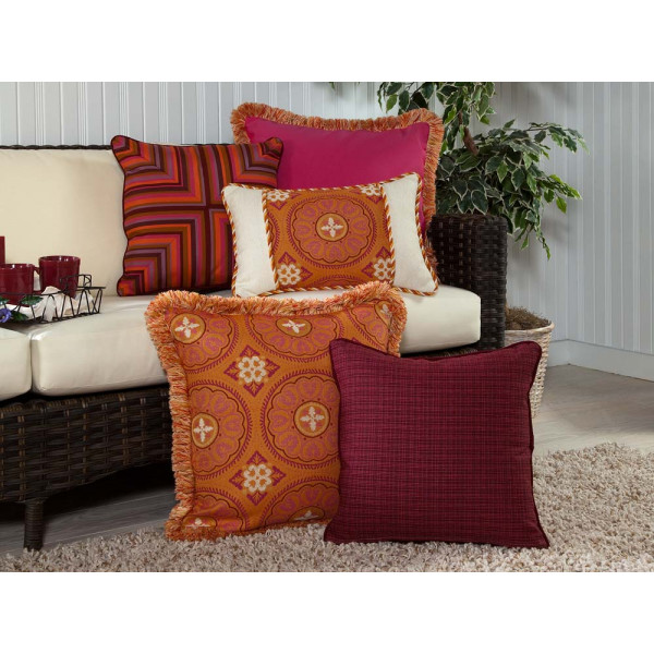 South Sea Rattan All Weather Sunset 5 Piece Throw Pillow Set