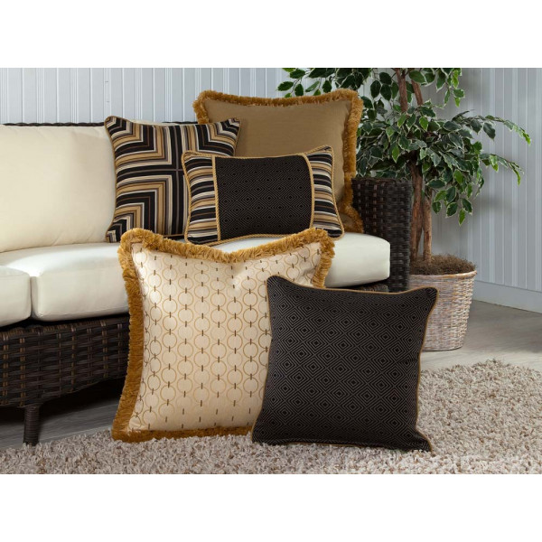 South Sea Rattan All Weather Coal Classic 5 Piece Throw Pillow Set