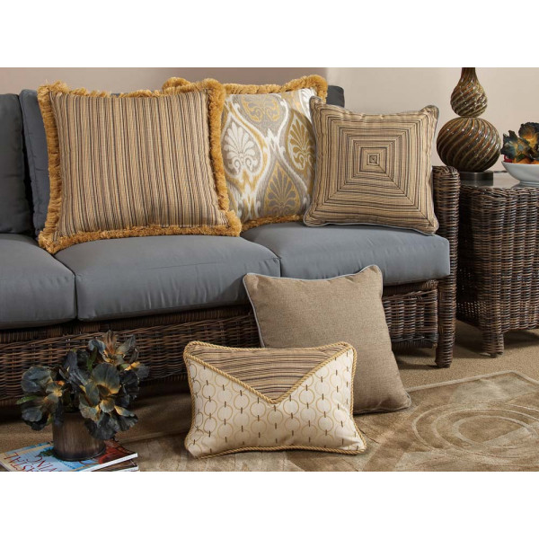 South Sea Rattan All Weather Aura 5 Piece Throw Pillow Set