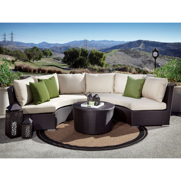 Sunset West Solana 3 Piece Curved Wicker Sectional Set