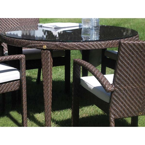 """Hospitality Rattan Soho Wicker 47"""" Round Dining Table"""