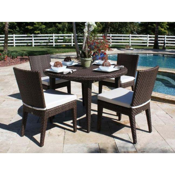 Hospitality Rattan Soho 5 Piece Wicker Armless Dining Set