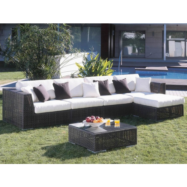 Hospitality Rattan Soho 6 Piece Wicker Sectional Set