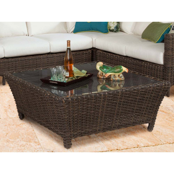 South Sea Rattan Panama Square Wicker Chat Table