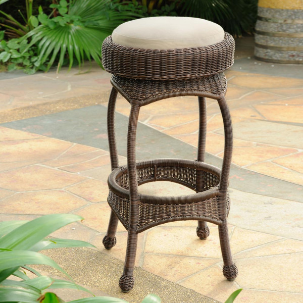South Sea Rattan Cameron Backless Wicker Bar Stool