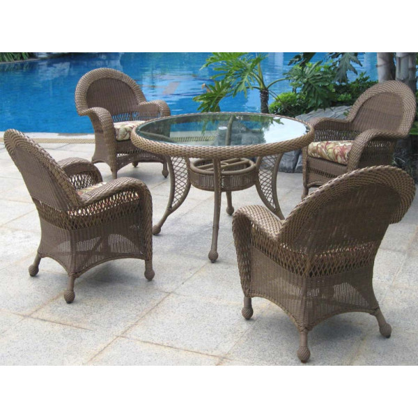 Longboat Key Casa Del Mar 5 Piece Wicker Dining Set