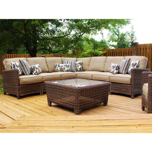 South Sea Rattan Del Ray 8 Piece Wicker Sectional Set