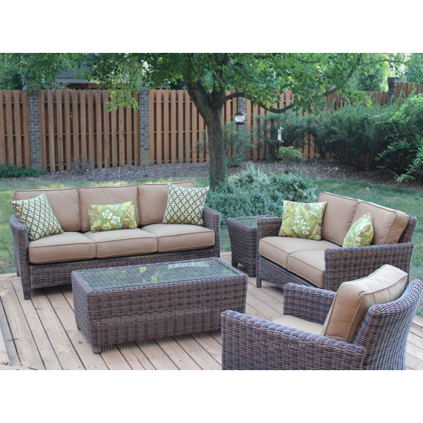 South Sea Rattan Del Ray 5 Piece Wicker Conversation Set