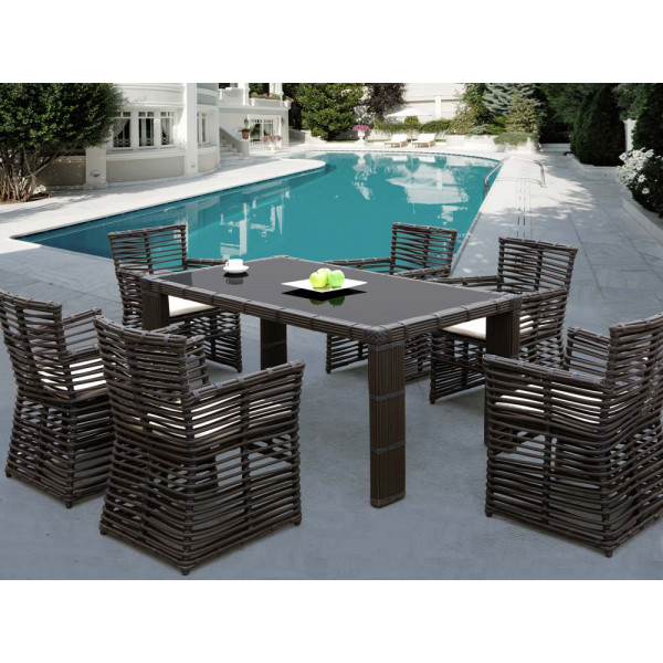 Sunset West Venice 7 Piece Wicker Dining Set