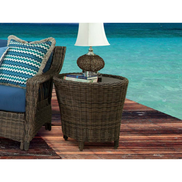 South Sea Rattan Saint John Wicker End Table