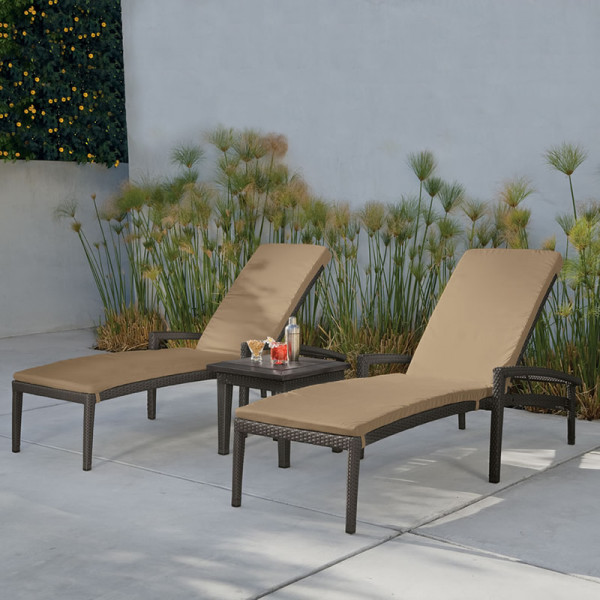 Tropitone Evo Woven 3 Piece Wicker Chaise Lounge Chat Set