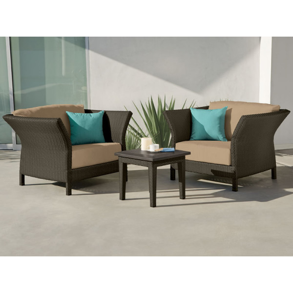 Tropitone Evo Woven 3 Piece Wicker Chat Set