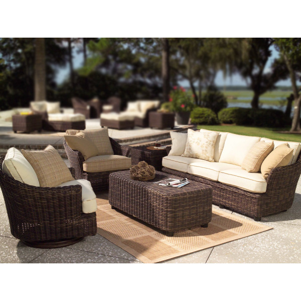 WhiteCraft by Woodard Sonoma 5 Piece Wicker Conversation Set