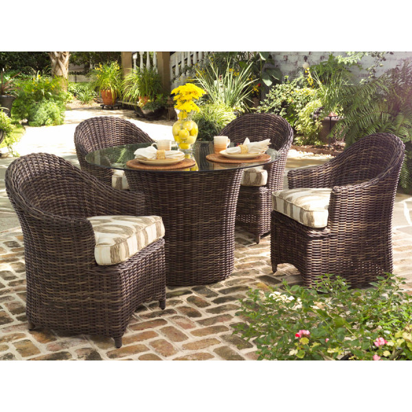 WhiteCraft by Woodard Sonoma 5 Piece Wicker Dining Set