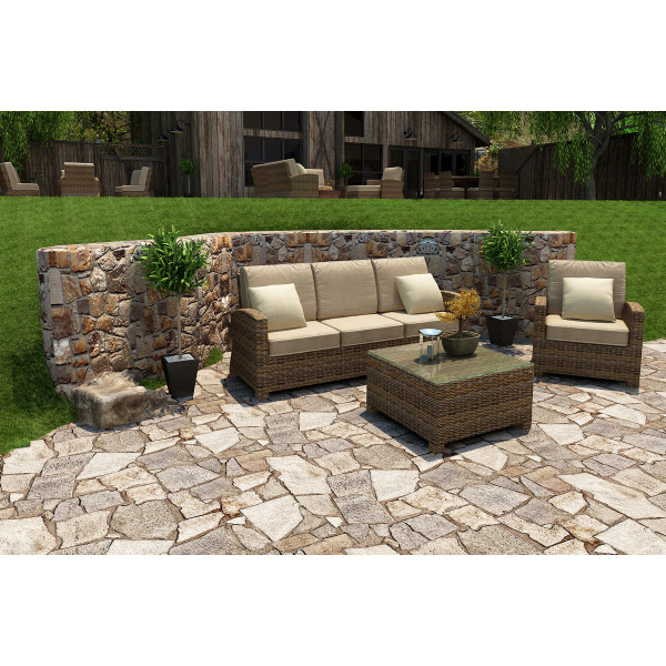 Forever Patio Cypress 3 Piece Wicker Conversation Set