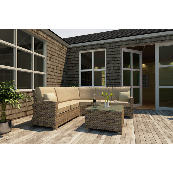 Forever Patio Cypress 4 Piece Wicker Sectional Set