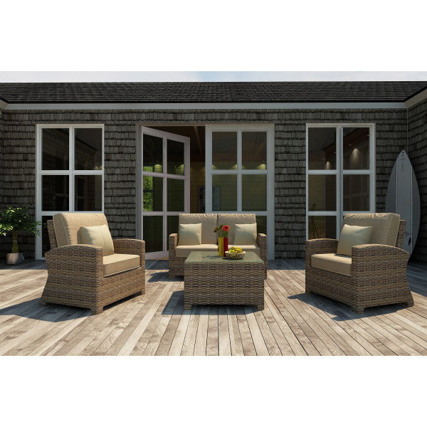 Forever Patio Cypress 4 Piece Wicker Conversation Set