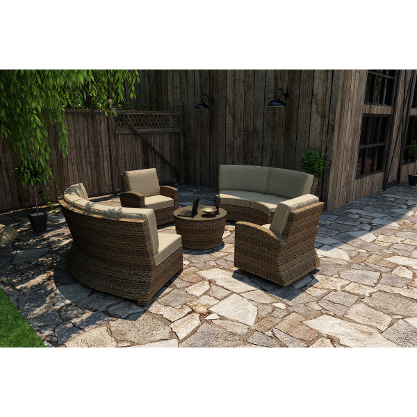 Forever Patio Cypress 5 Piece Wicker Curved Sectional Set