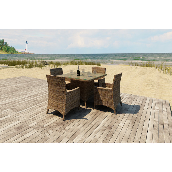 Forever Patio Cypress 5 Piece Square Wicker Dining Set