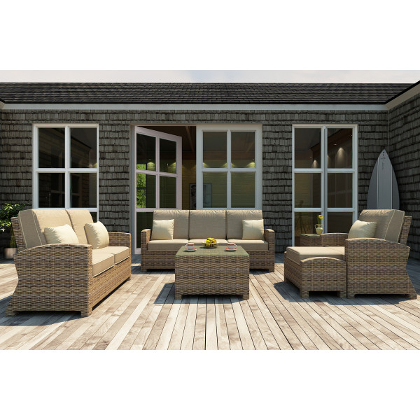 Forever Patio Cypress 6 Piece Wicker Conversation Set