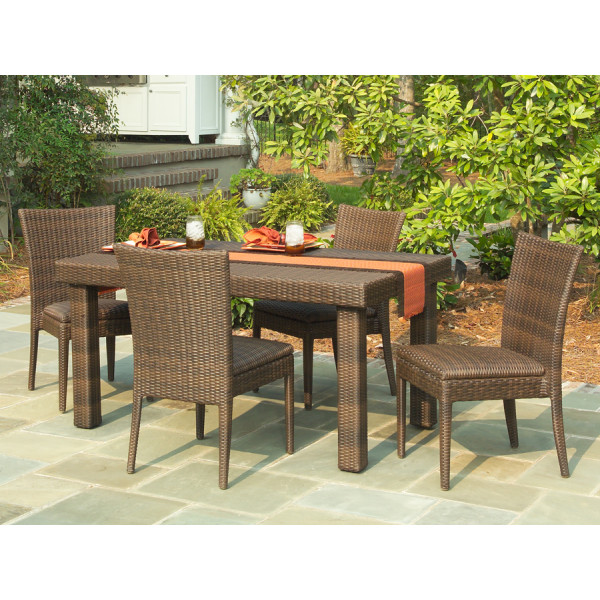 WhiteCraft by Woodard 5 Piece Wicker Dining Set