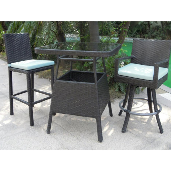 Longboat Key Santa Monica 3 Piece Wicker Pub Set