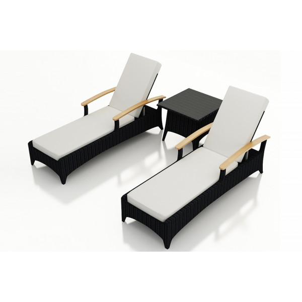 Harmonia Living Arbor 3 Piece Reclining Chaise Lounge Set - Sunbrella Canvas Natural