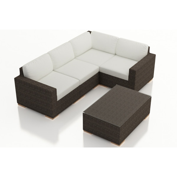 Harmonia Living Arden Chestnut 5 Piece Sectional Set - Sunbrella Canvas Natural