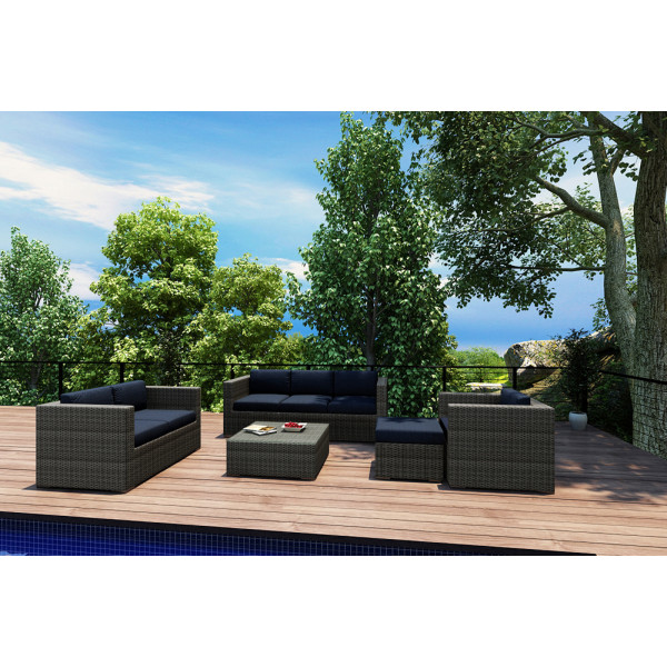 Harmonia Living District 5 Piece Wicker Conversation Set - Sunbrella Spectrum Indigo