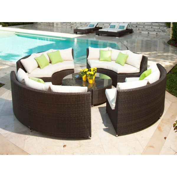 Source Outdoor Circa 8 Piece Wicker Conversation Set