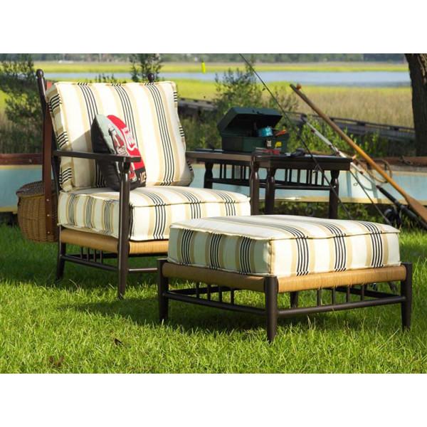 Sunbrella DeVille Peat Fabric / Natural Wicker Finish / Aged Black Frame Finish