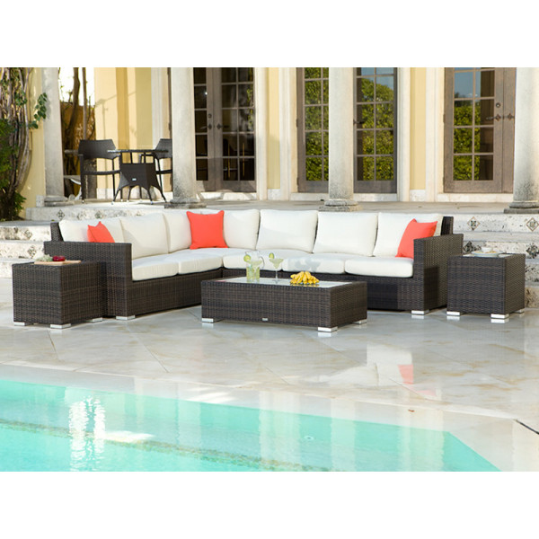 Source Outdoor Lucaya 7 Piece Wicker Sectional Set