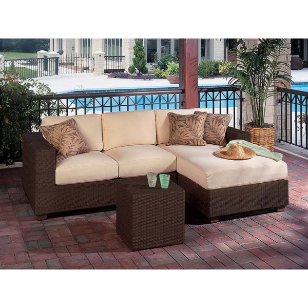 WhiteCraft by Woodard Montecito 3 Piece Wicker Sectional Set