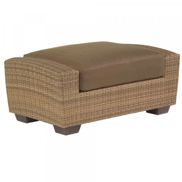 Saddleback Ottoman with Dobbs Brass Rib cushion