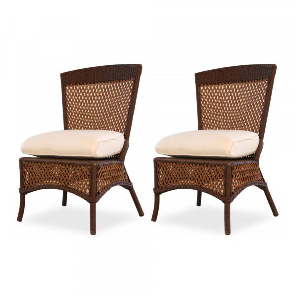 Lloyd Flanders Grand Traverse Wicker Armless Dining Chair Pair