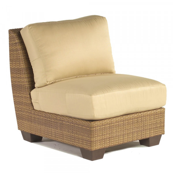 WhiteCraft by Woodard Saddleback Wicker Armless Wicker Lounge Chair - Replacement Cushion