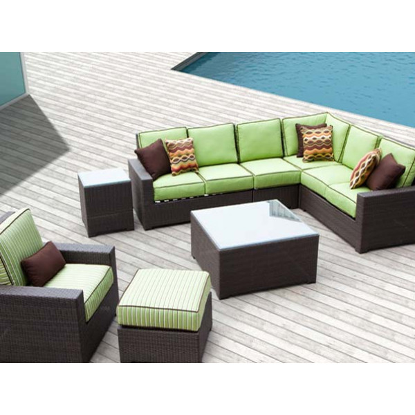 Longboat Key Santa Monica 8 Piece Wicker Sectional Set