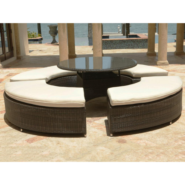 Source Outdoor Circa 5 Piece Wicker Bench Dining Set