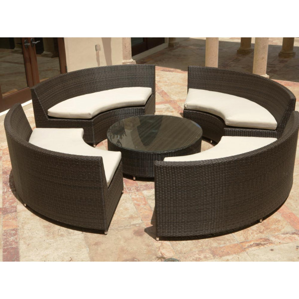 Source Outdoor Circa 5 Piece Wicker Sectional Set
