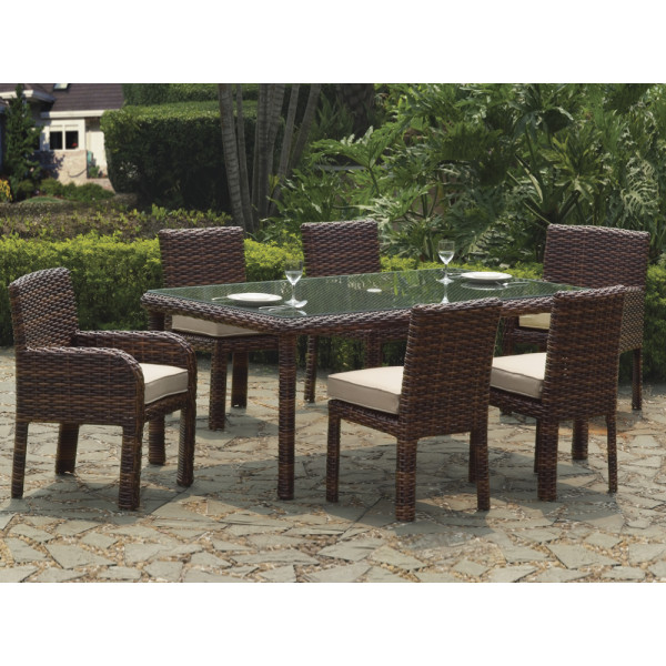 South Sea Rattan Saint Tropez 7 Piece Wicker Dining Set