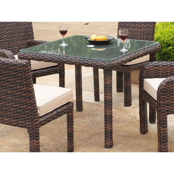 South Sea Rattan Saint Tropez Square Wicker Dining Table