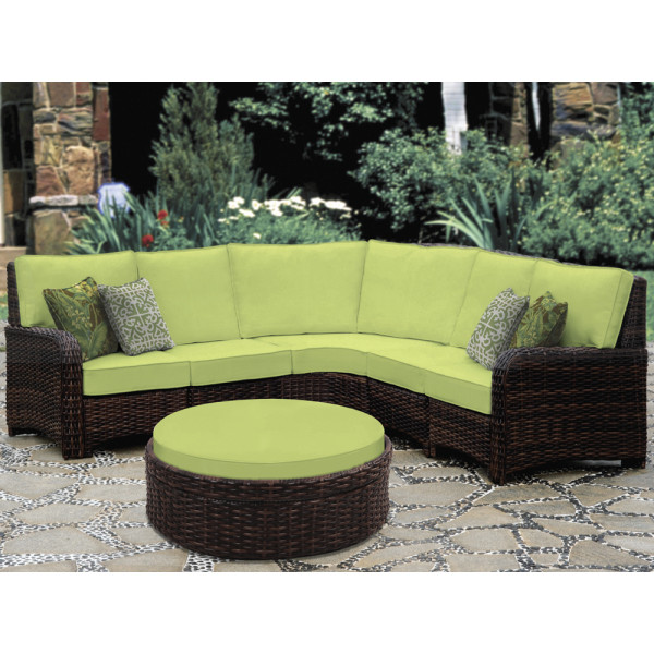 South Sea Rattan Saint Tropez 6 Piece Wicker Sectional Set
