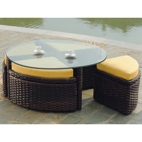 South Sea Rattan Saint Tropez Wicker Sushi Table with Ottomans